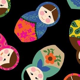 Tissu Little Katerina - Nesting Dolls Noir x 10cm