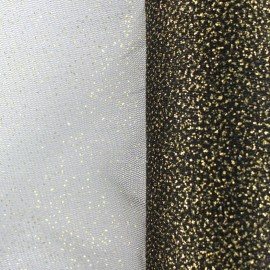 Sequined Flexible Tulle - black and gold x 10cm