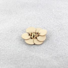 Fleur cuir à coller/ coudre taupe clair