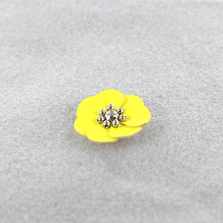 Leather Flower to glue/to sew - yellow