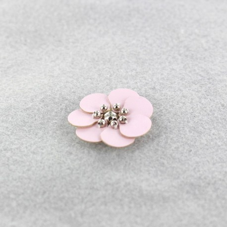 Leather Flower to glue/to sew - pale pink