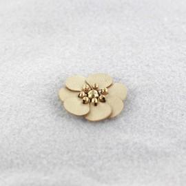 Fleur cuir à coller/ coudre doré