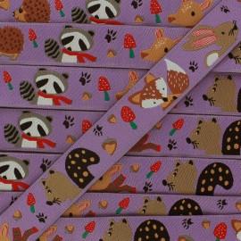 Ruban Animaux en automne violet x 1m