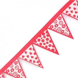 Woven Ribbon, club flag x 50 cm - pink