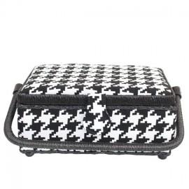 Boîte à couture glencheck s noir et blanc