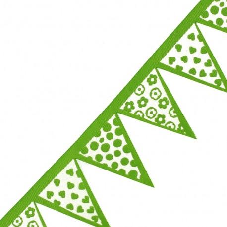 Woven Ribbon, club flag x 50 cm - green