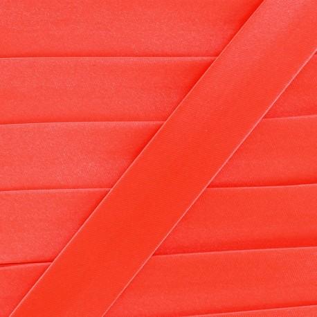 Satin bias binding x 1m - fluorescent orange-red