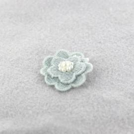 Fleur coton brodé et perles à coller/ coudre gris bleu