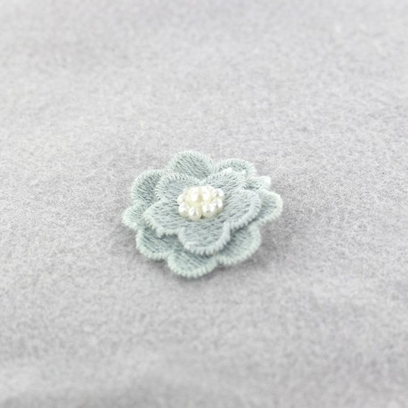 Embroidered cotton & pearl Flower to glue/to sew - blue grey