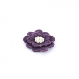 Fleur coton brodé et perles à coller/ coudre violine