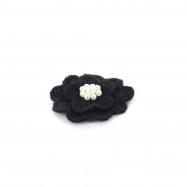 Fleur coton brodé et perles à coller/ coudre noir