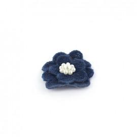 Fleur coton brodé et perles à coller/ coudre marine