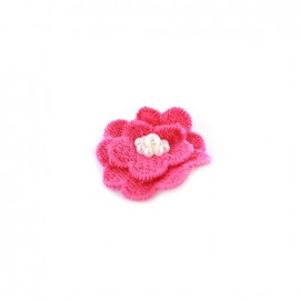 Fleur coton brodé et perles à coller/ coudre fuchsia