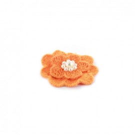 Embroidered cotton & pearl Flower to glue/to sew - orange