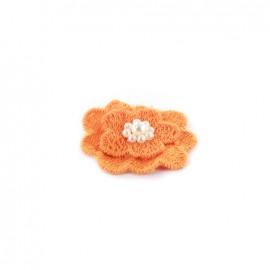 Fleur coton brodé et perles à coller/ coudre orange