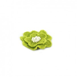 Embroidered cotton & pearl Flower to glue/to sew - pistachio