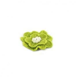 Fleur coton brodé et perles à coller/ coudre pistache