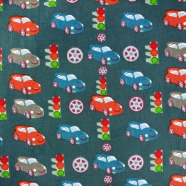 Tissu velours milleraies City Cars paon x 10cm