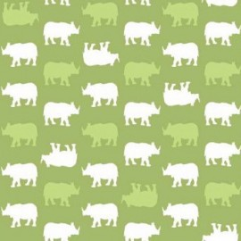 Fabric Makower UK - Baby Chic, Rhino - Green x 10cm