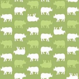 Tissu Coton Makower UK - Baby Chic - Rhino Vert x 10cm