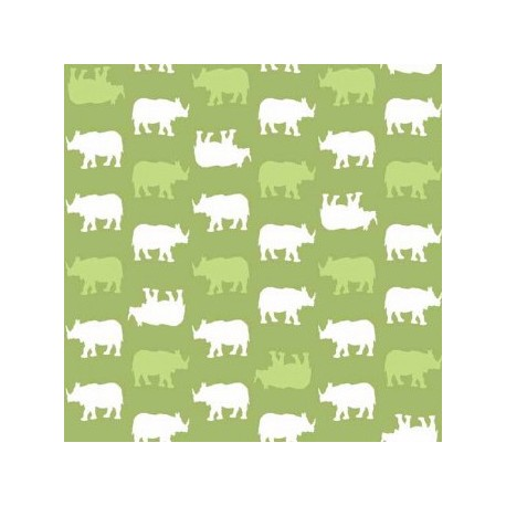 Fabric Makower UK - Baby Chic, Rhino - Blue x 10cm
