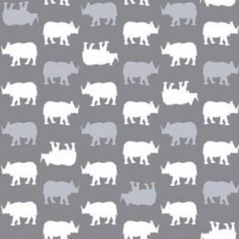 Tissu Coton Makower UK - Baby Chic - Rhino Gris x 10cm