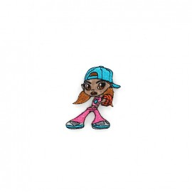 Iron-on-patch basket girl - pink