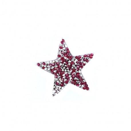 Rhinestones Star Glitter Iron on - fuchsia