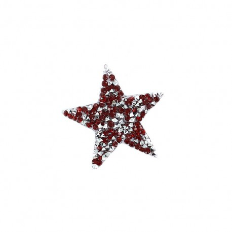 Rhinestones Star Glitter Iron on - red