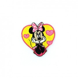 "Embroidered Heart ""Pretty Minnie"" iron-on applique - Yellow"