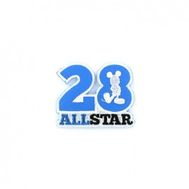"Embroidered 28 All Star badge ""Mickey Mouse All Star"" iron-on applique - blue"