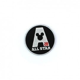 "Embroidered M like All Star badge ""Mickey Mouse All Star"" iron-on applique - black & white"