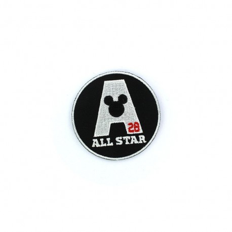 """Embroidered M like All Star badge """"Mickey Mouse All Star"""" iron-on applique - black & white"""