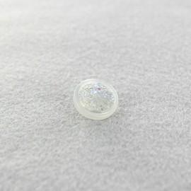 Bouton polyester Glittery blanc