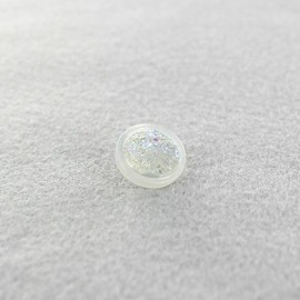 Polyester button Glittery - white