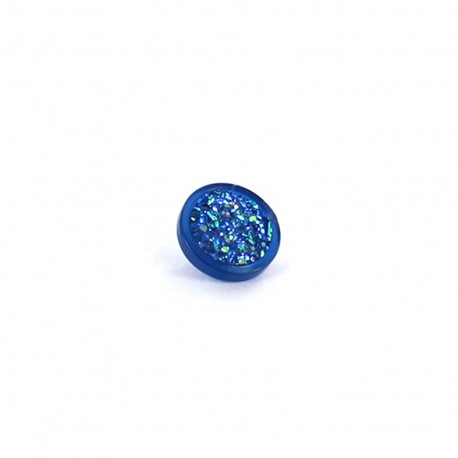 Polyester button Glittery - blue