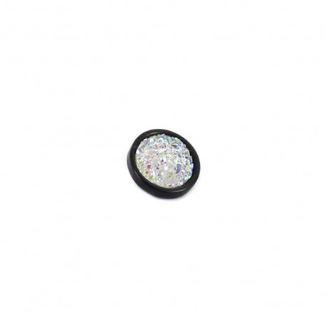 Polyester button Glittery - black and white