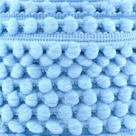 Galon mini pompon boule bleu ciel x 1m