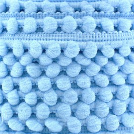 Mini pompon ball braid trimming x 1m - sky blue