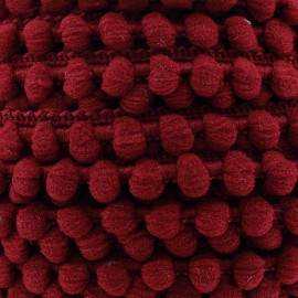 Mini pompon ball braid trimming x 1m - burgundy