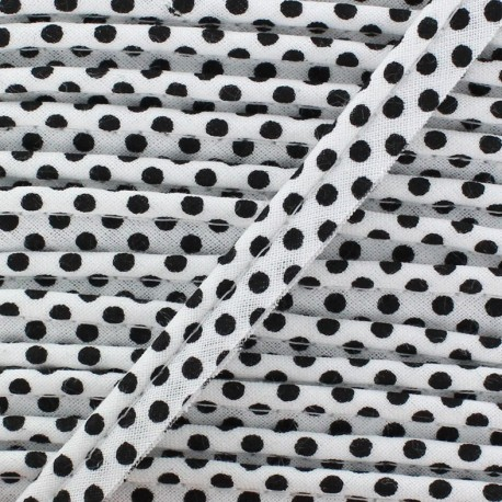 Dotty cotton Piping - black/white x 1m