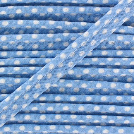 Dotty cotton Piping - white/sky x 1m