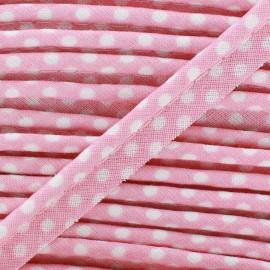 Passepoil coton à pois blanc/rose x 1m