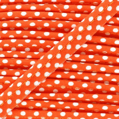 Dotty cotton Piping - white/orange x 1m