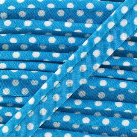 Passepoil coton à pois blanc/Turquoise x 1m