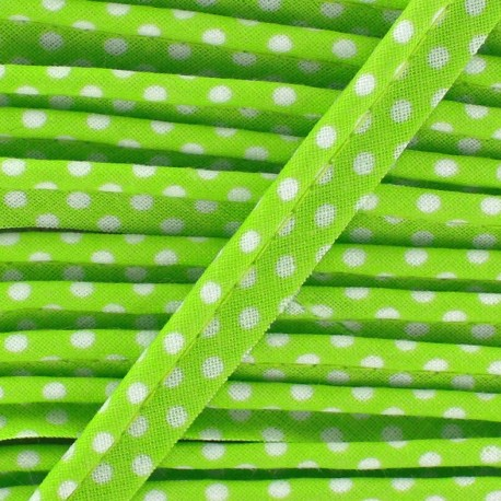 Dotty cotton Piping - white/Anis x 1m