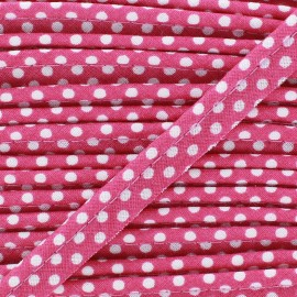 Dotty cotton Piping - white/Fushia x 1m