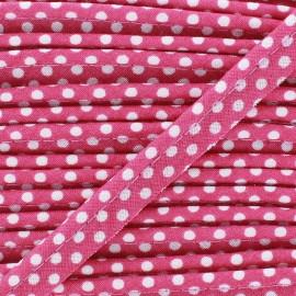 Passepoil coton à pois blanc/Fushia x 1m