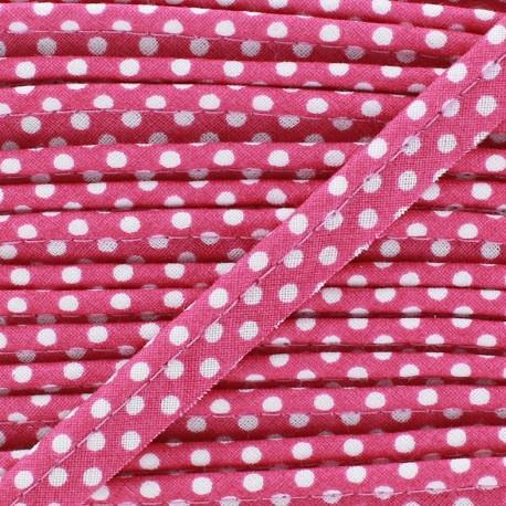 Dotty cotton Piping - white/Fushia x 1m