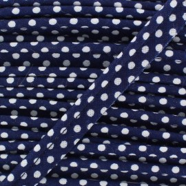 Passepoil coton à pois blanc/marine 1m